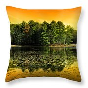 Orange Sunrise Reflection Landscape Throw Pillow