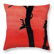 Orange Sunset Silhouette Tree Throw Pillow