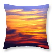 Orange Sunset Sky Throw Pillow