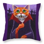 Orange Tabby Vampire Cat Throw Pillow