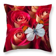 Orange Tip Butterfly Throw Pillow