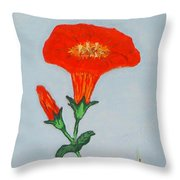 Orange Trumpet Vine Throw Pillow