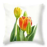 Orange Tulip With Buds Throw Pillow