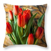 Orange Tulips In Copper Pitcher Throw Pillow