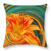 Orange Twist Daylily Photoart Throw Pillow
