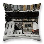 Orange Umbrella - Winter In New York Throw Pillow