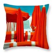 Orange Umbrellas Throw Pillow
