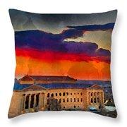 Orange Upon The Art Museum Throw Pillow
