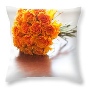 Orange Wedding Bouquet Roses Throw Pillow