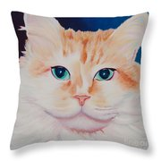 Orange White Cat Portrait Throw Pillow