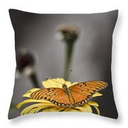 Orange Winged Butterfly Throw Pillow