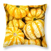 Orange Winter Squash On Display Throw Pillow