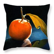 Orange With Leaf Throw Pillow