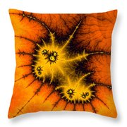 Orange Yellow And Black Abstract Fractal Art Throw Pillow