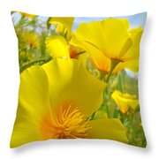Orange Yellow Poppy Flowers Meadow Art Throw Pillow
