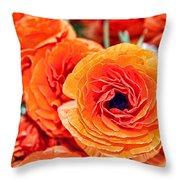 Orange You Happy Ranunculus Flowers By Diana Sainz Throw Pillow