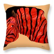 Orange Zebra Throw Pillow