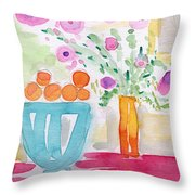 Oranges In Blue Bowl- Watercolor Painting Throw Pillow