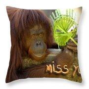 Orangutan Female Throw Pillow