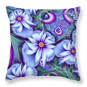 Orbiting Hearts And Flowers Throw Pillow by Peggi Wolfe