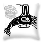 Orca And Moon Throw Pillow