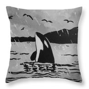 Orca Free And Happy Throw Pillow