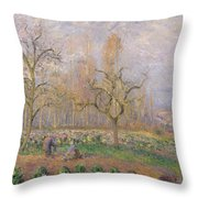 Orchard At Pontoise Throw Pillow by Camille Pissarro