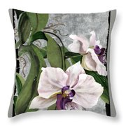 Orchid A - Phalaenopsis Throw Pillow