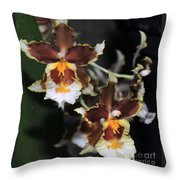 Orchid Brown Yellow White Macro Throw Pillow