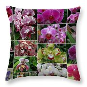 Orchid Collage 1 Throw Pillow