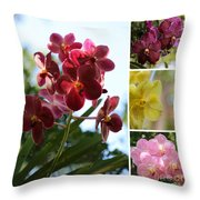 Orchid Collage Throw Pillow