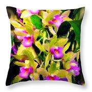 Orchid Flower Bunch Throw Pillow