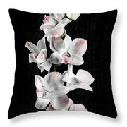 Orchid Flowers On Black Throw Pillow by Elena Elisseeva