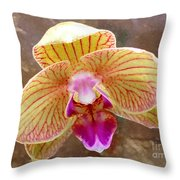 Orchid On Marble Throw Pillow