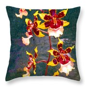 Orchid Spray By Pottery  Throw Pillow