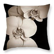 Orchid Trio Sepia Throw Pillow