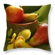 Orchid With Pears Throw Pillow