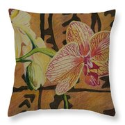 Orchid With Tapa Throw Pillow