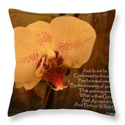 Orchid With Verse Throw Pillow
