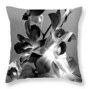 Orchids 2 Bw Throw Pillow