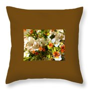 Orchids And Hydrangea Throw Pillow