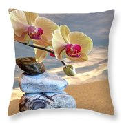 Orchids And Pebbles On Sand Throw Pillow