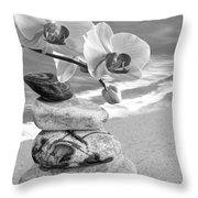 Orchids And Pebbles On The Sand In Black And White Throw Pillow