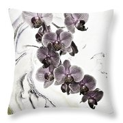 Orchids And Suminagashi Throw Pillow