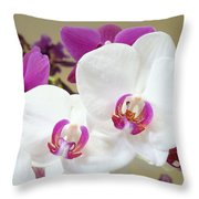 Orchids Floral Art Prints White Pink Orchid Flowers Throw Pillow