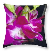 Orchids In A Glass Throw Pillow