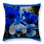 Orchids In Blue  Throw Pillow
