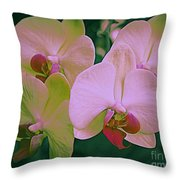 Orchids In Pink And Green Throw Pillow