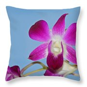Orchids With Blue Sky Throw Pillow