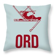 Ord Chicago Airport Poster 3 Throw Pillow by Naxart Studio